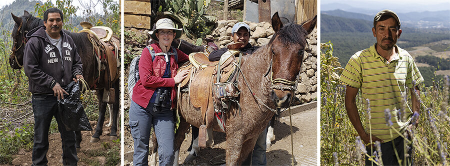 A tourist and horse guides in Macheros, Mexico.